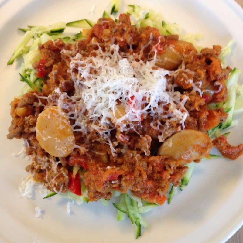 kødsovs spaghetti