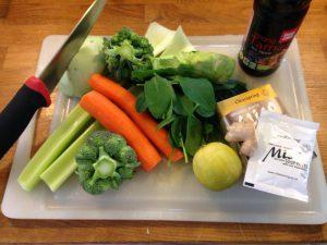 misosuppe med grøntsager